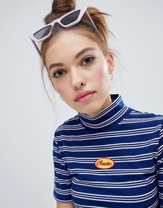Lazy Oaf high neck fitted cheese t-shirt - Синий