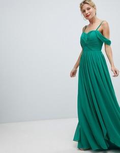 Платье макси с вырезами на плечах Y.A.S - Зеленый