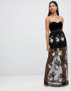 Платье макси с цветочной отделкой Rare London - Черный