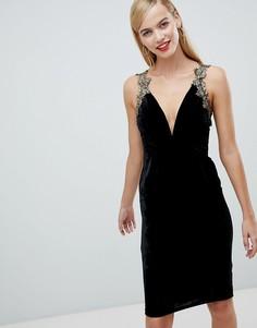 Бархатное платье с глубоким вырезом Rare London - Черный
