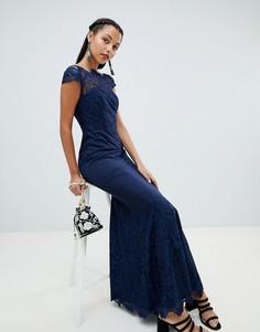Кружевное платье макси Chi Chi London premium - Темно-синий