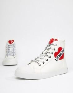 Высокие кроссовки с отделкой сердечком Love Moschino - Белый