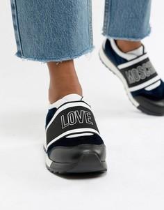Бархатные кроссовки Love Moschino - Темно-синий