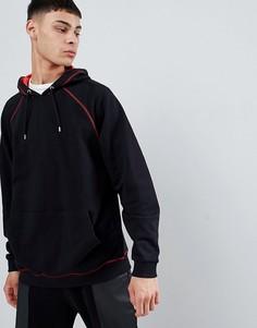 Oversize-худи красного цвета с контрастной строчкой ASOS DESIGN - Черный