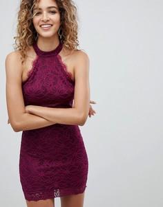 Кружевное платье с американской проймой AX Paris - Фиолетовый