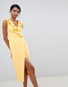 Платье миди с запахом и оборкой Keepsake - Желтый