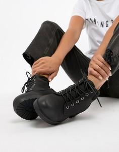 Ботильоны в байкерском стиле со шнуровкой New Look - Черный
