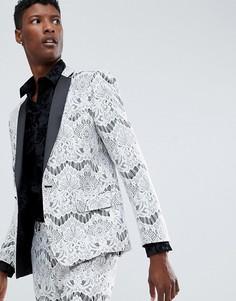 Белый кружевной пиджак-смокинг зауженного кроя ASOS EDITION - Белый