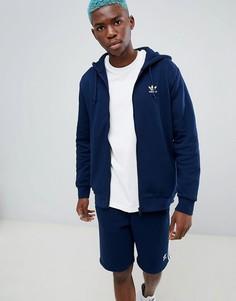 Худи темно-синего цвета adidas Originals Trefoil DN6013 - Темно-синий