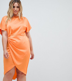Атласное платье-кимоно миди эксклюзивно от ASOS DESIGN Curve - Оранжевый