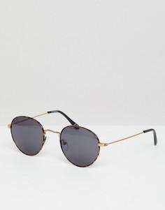 Круглые солнцезащитные очки в черепаховой оправе с дымчатыми стеклами ASOS DESIGN - Коричневый