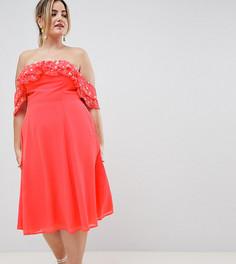 Платье миди с открытыми плечами, оборкой и отделкой ASOS DESIGN Curve - Розовый