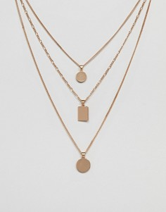 Золотистое ярусное ожерелье с геометрическими подвесками ALDO - Золотой