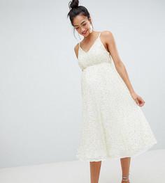 Платье миди с пайетками, глубоким вырезом и пышной юбкой ASOS DESIGN Maternity - Кремовый