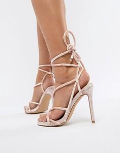 Бархатные сандалии гладиаторы Missguided - Розовый