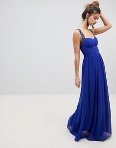 Декорированное платье макси Little Mistress - Синий