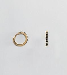 Позолоченные серьги-кольца с черными кристаллами Orelia - Золотой