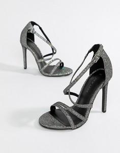 Босоножки на каблуке с ремешками цвета металлик New Look - Серебряный