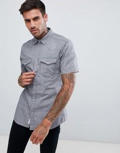 Серая джинсовая рубашка классического кроя в стиле вестерн River Island - Серый