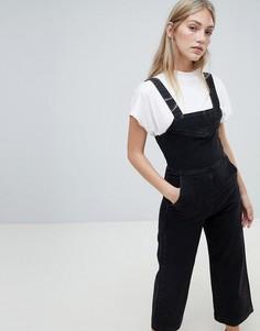 Джинсовый комбинезон с широкими штанинами Weekday - Черный