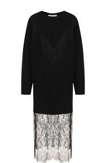 Платье-миди из смеси шерсти и кашемира с кружевной вставкой Valentino