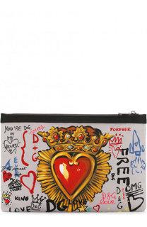 Текстильный клатч с принтом Dolce & Gabbana