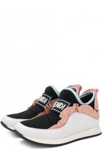 Кожаные кроссовки с оборками без шнуровки Fendi