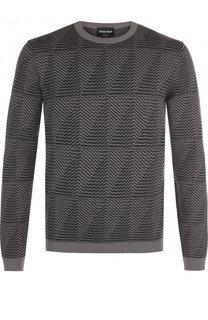 Шерстяной пуловер с принтом Giorgio Armani