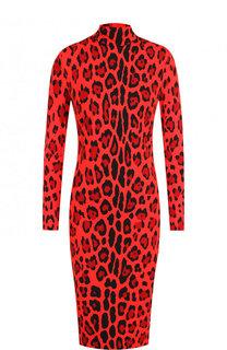 Приталенное платье с принтом и воротником-стойкой Tom Ford