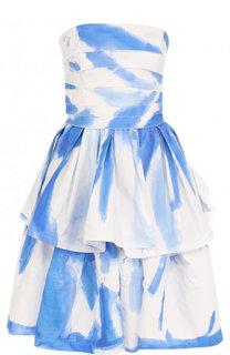 Хлопковое мини-платье с оборками и принтом Ralph Lauren