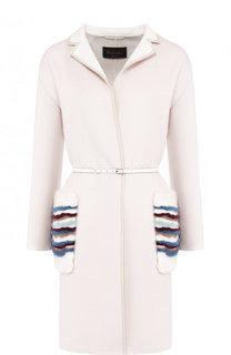 Кашемировое пальто с накладными карманами их меха Loro Piana