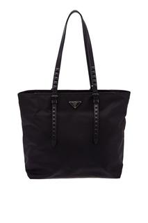 Черная сумка с заклепками Prada