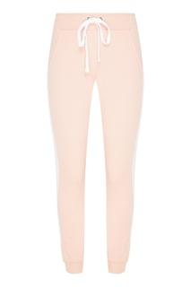 Розовые хлопковые брюки с лампасами Zasport