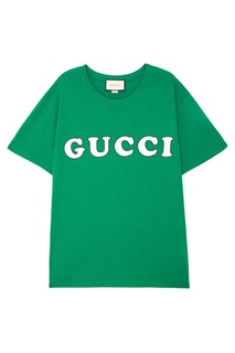 Зеленая футболка с логотипом Gucci