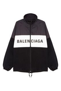 Черная ветровка с логотипом Balenciaga