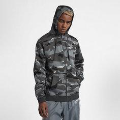 Мужская худи с молнией во всю длину и камуфляжным принтом Nike Sportswear Club Fleece