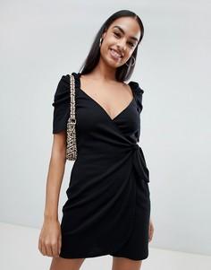 Платье мини в рубчик с завязкой Fashion Union - Черный