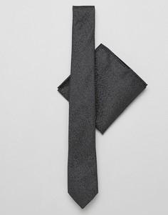 Набор из галстука и платка для нагрудного кармана черного цвета с блестками Burton Menswear - Черный