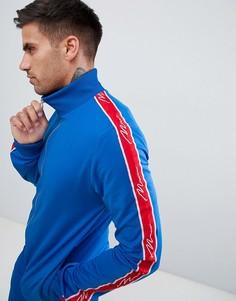 Синяя спортивная куртка с отделкой кантом boohooMAN - Синий