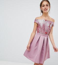 Короткое платье для выпускного с отделкой пайетками и открытыми плечами Little Mistress Petite - Розовый