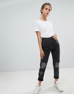 Рваные джинсы в винтажном стиле Noisy May - Черный