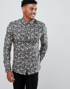45e74b1f8ca Строгая рубашка зауженного кроя с цветочным принтом ASOS DESIGN - Мульти