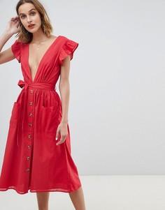 Платье миди на пуговицах с рукавами клеш Neon Rose - Красный