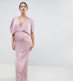 Розовое платье макси с рукавами-кейп Flounce London Maternity - Розовый