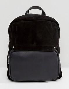 Замшевый рюкзак с контрастной вставкой Park Lane - Черный
