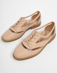 Туфли на плоской подошве со шнуровкой ASOS DESIGN Mica - Бежевый