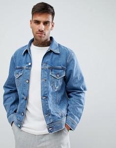 Джинсовая куртка с рваной отделкой Diesel D-Robyn - Синий