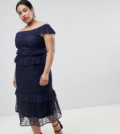 81b601b8428 Кружевное платье макси с открытыми плечами и ярусными оборками Lost Ink  Plus - Темно-синий