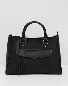 Мягкая сумка-тоут со скрытым карманом ASOS DESIGN - Черный