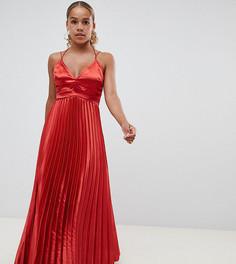 Атласное платье макси с плиссировкой ASOS DESIGN Petite - Красный